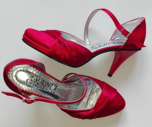 8ca8e9be288dd WYPRZEDAŻ butów gotowych w MAŁYCH ROZMIARACH - A 1450 PLATFORMA atłas  czerwony / rozmiar 37