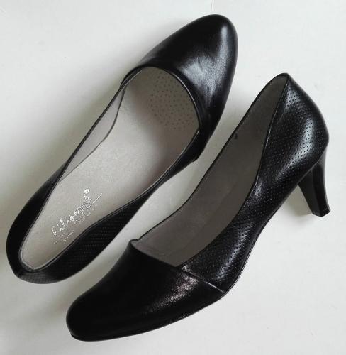 % OKAZJA Kup TANIEJ buty GOTOWE < FK 9611 skóra naturalna czarna obcas 6 cm rozmiar 42